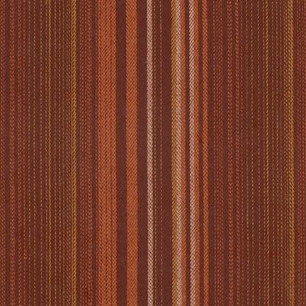 Brown cotton flannel with white, tan, and orange colored stripes