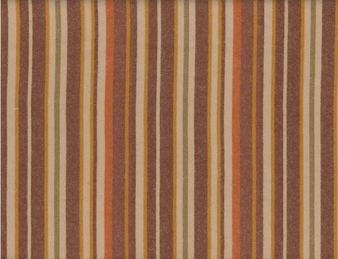 A flannel fabric with stripes that are brown, cream, and other autumnal colors