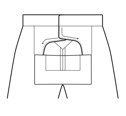 Illustration showing the topstitching on the inner Front Dart Gusset