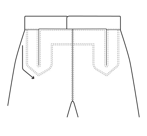 Illustration of the main topstitching design to added to the front of the pants