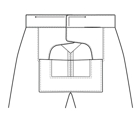 Illustration for the direction for topstitching the edges of the waistband.