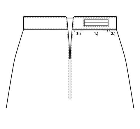 Illistration to help were totopstitch under the waistband where the welt pocket is positioned.