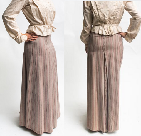 two views of a 1900s schoolmistress gored skirt - model is standing with hand on hip and shown in profile and rear view