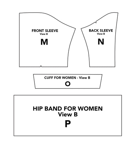 Illustration of Middy Blouse View B pattern pieces Front Sleeve M, Back Sleeve N, Cuff O, and Hip Band