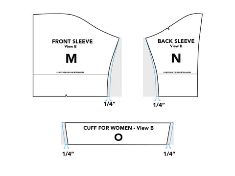 Illustration of grading the front sleeve, back sleeve, and sleeve band for Middy Blouse View B.
