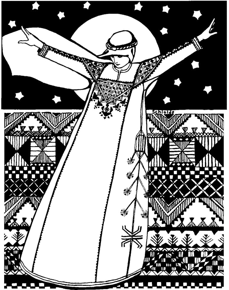 black and white pen and ink drawing by Gretchen Shields.  Woman standing in Syrian Dress with scarf over head. Arms are spread out. An abstract background with the night sky and traditional Syrian style design behind her.  She is weari