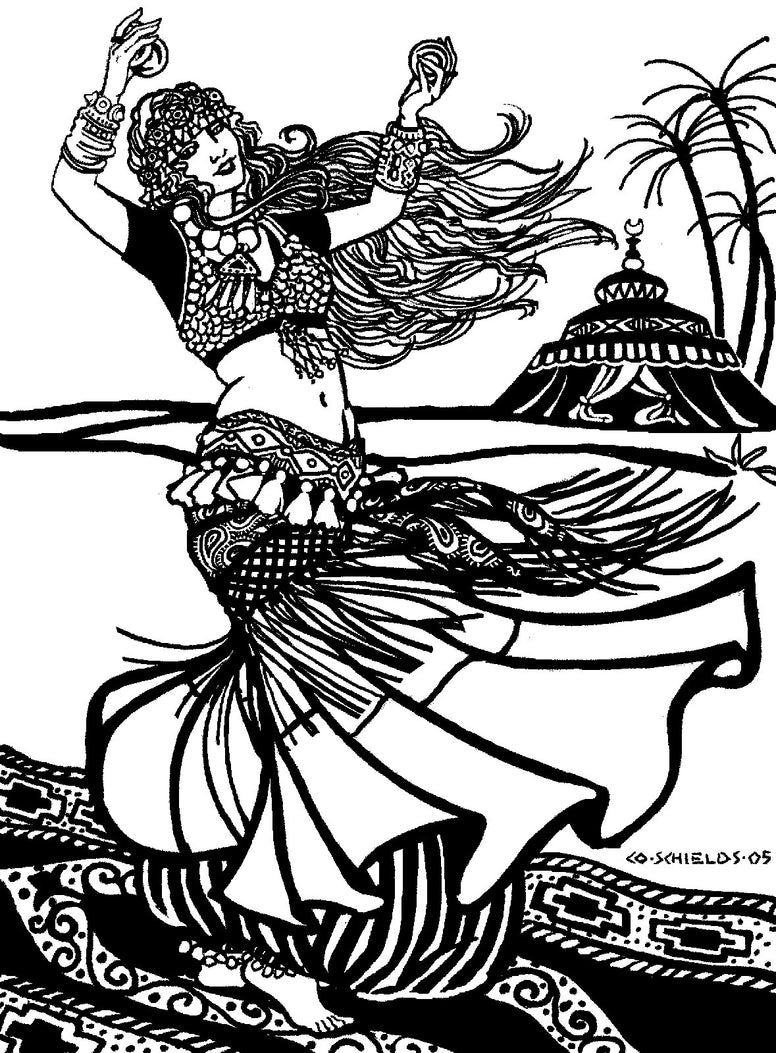 Black and white pen and ink drawing by artist Gretchen Schields.  Woman dancing in tribal style bellydance ensemble .  Woman holds cymbals in her hands and is standing on an ornate rug.
