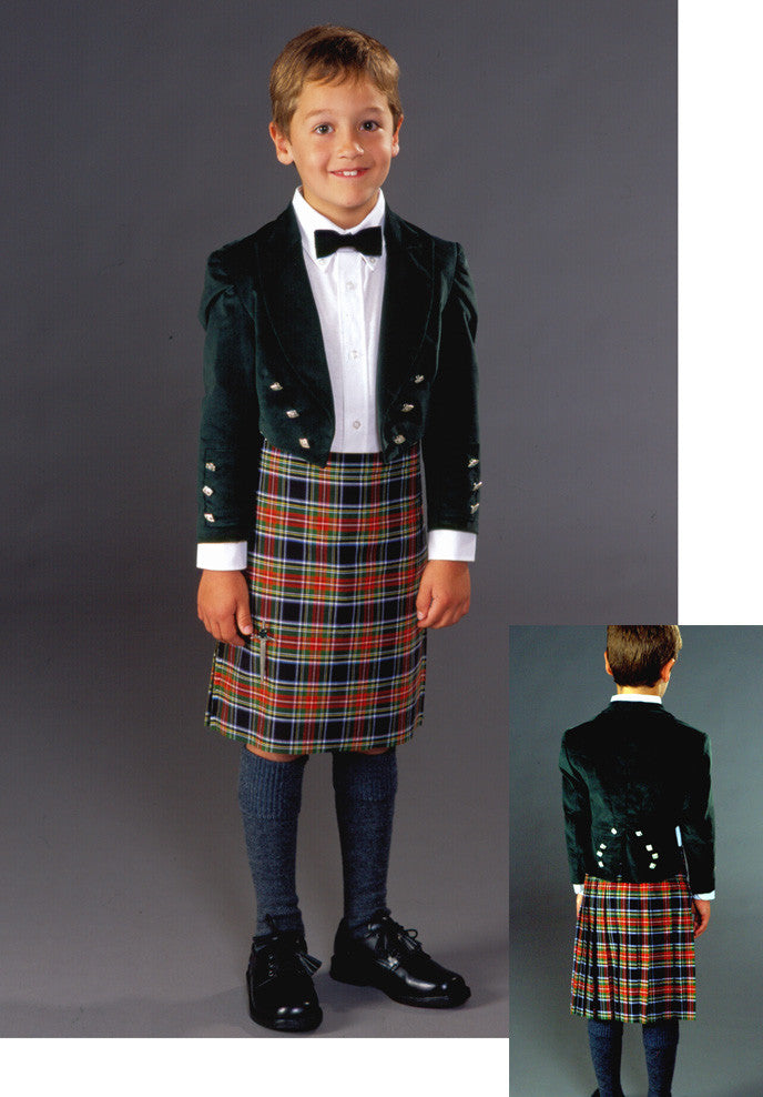 Photo of young boy wearing full Kilt ensemble.  photo shows front and back view of outfit.