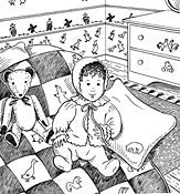 Black and white pen and ink drawing by Gretchen Schields. A baby sitting on a bed wearing 304 Nursery Days Bed Jacket and bonnet, and sitting on the quilt next to the teddy bear and pillow sham.