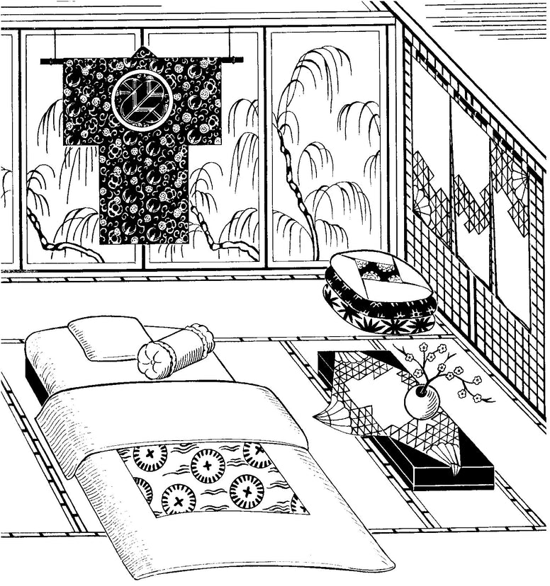 Black and white pen and ink drawing by artist Gretchen Shields. 305 Japanese Interior, kimono hanging on the back wall, floor cushions (zabuton) in the corner, Futon with the futon cover (shikibuton), top quilt (kakebuton), and decorative curtains (noren)