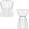 Black and white flat line drawing of front view of men and women's Ghanaian Smock.