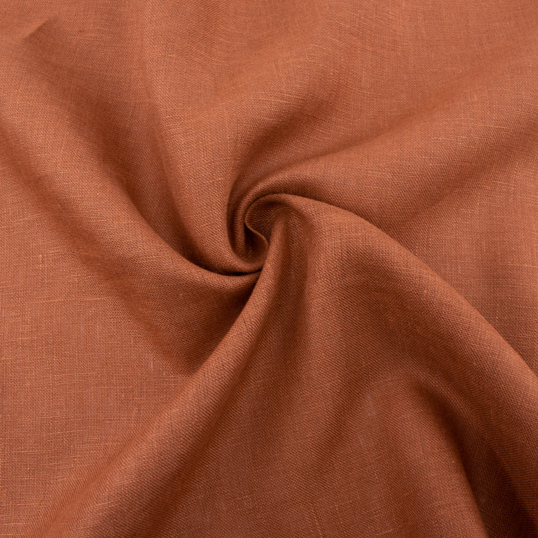 picture of organic linen fabric apricot brandy color