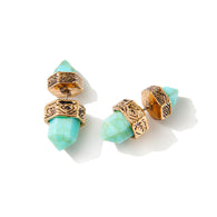 European Ethnic Jewelry Silver Gold Earrings Hexagonal Prism Pile Imitation Turquoise