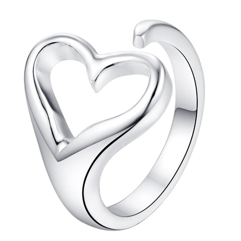 Resize-Able Silver Plated Heart Ring