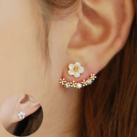 Flower Crystals Stud Earring For Women Rose Gold Color Double Sided Fashion Jewelry Earrings