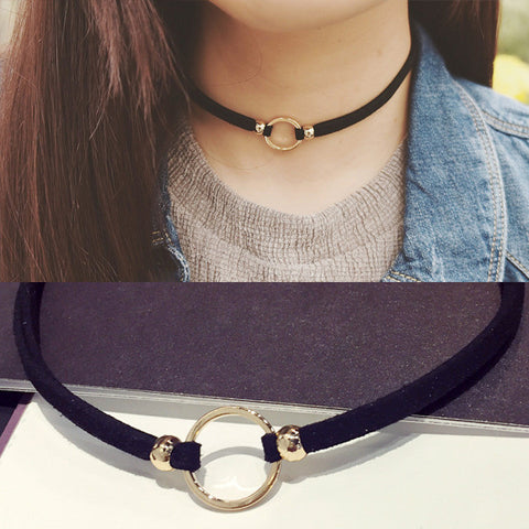 New Fashion Suede Velvet Choker Necklaces Black Cord Gold Plated Round