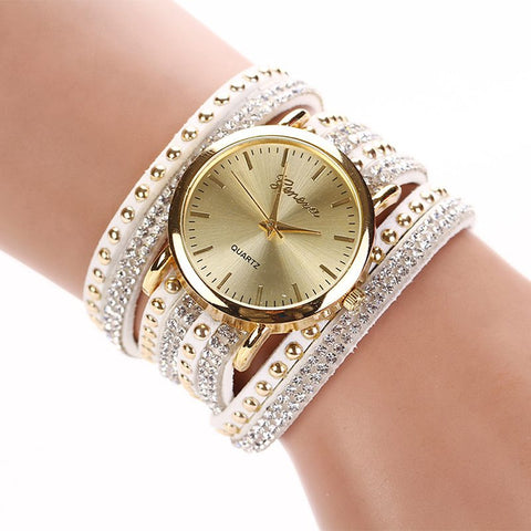 Classic Unique Large Round Dial Women Leather Watches