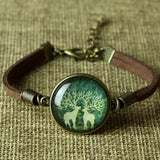 8 Styles Glass Galaxy Bracelets Leather Bracelet Animal Horse Cat Deer Bracelets