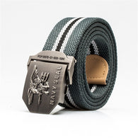 Mens Belt Us Navy Seal Metal Smooth Buckle Striped Canvas Casual Knit Strap Belts Eagle Waist