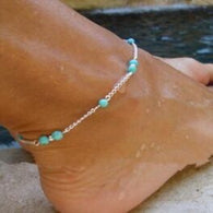 Charming Blue -Sea Colored Beads Chain Anklets