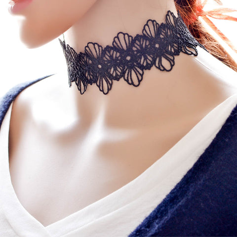 New Gothic Fashion Black Lace Choker Necklaces Women