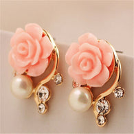 Jewelry New Brand Design Gold Plated Rose Pearl Stud Earrings For Women New Accessories