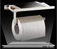 Stainless Steel Bathroom Tissue Paper  With Shelf Bathroom Mobile Cell Phones Holder
