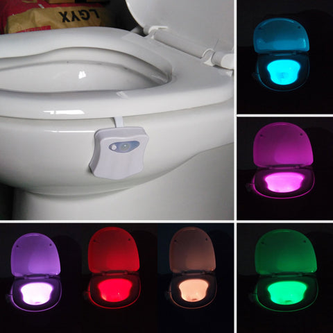 Hot 3D Tooth Lamp 8 Colors LED Toilet Bathroom Nightlight Motion Activated Light