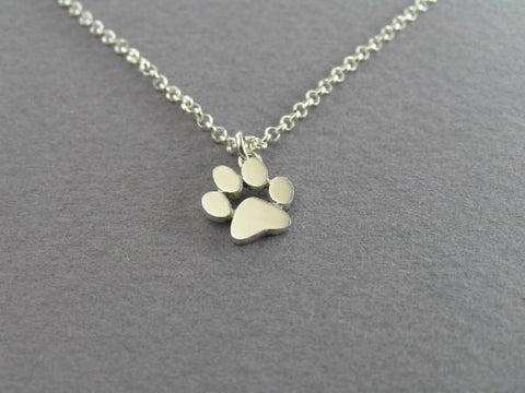 Pretty Puppy Paw  Pendant Link Chain Gold And Silver Plated Necklaces