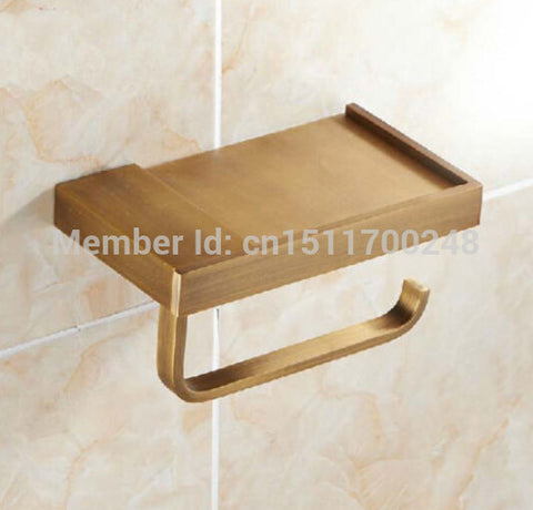 Bathroom Antique Brass Wall Mounted Toilet Paper Tissue Holder With Shelf