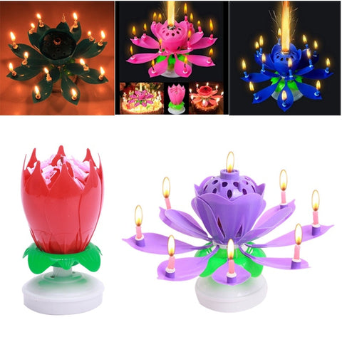 Birthday Candles Beautiful Musical Lotus Flower Happy Birthday Party Rotating Lights Decoration Kitchen