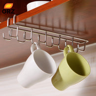 Stainless Steel Kitchen Storage Rack Cupboard Hanging Hook Shelf Dish
