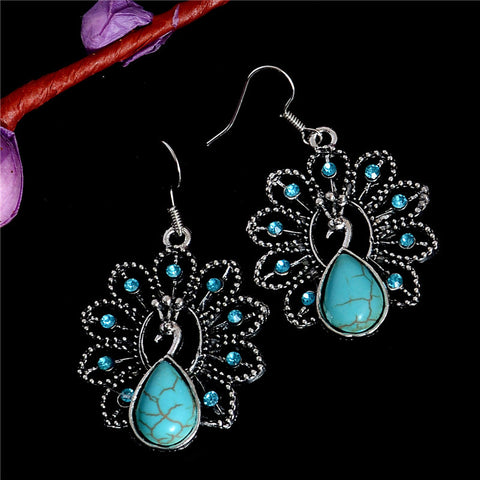 Vintage Bohemia Style Peacock Turquoise Stone Classic Pretty Turquoise Earrings For Women
