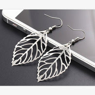 Hot Sale Noble Vintage Leaf Earring New Design Bohemian Hollow  Earrings Charm Jewelry For Women