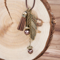Doreen Box Handmade Fashion Tassel Pendant Necklaces Feather