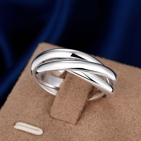 Unisex Silver Plated Three Circles Rings