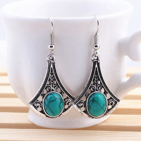 Tibetan Silver Natural Turquoise Stone Women Statement Leaves Pendant Earrings Hollow Out Earrings
