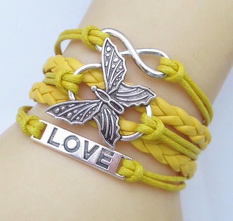 NEW Hot Fashion Leather Vivid Butterflies LOVE Friendship Charm Sideway Braided Wristband Bracelets
