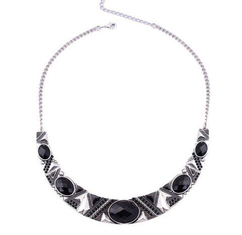 Statement Necklace New Vintage Jewelry Silver Color Alloy Black Resin Bead Choker Necklace