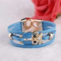 Fashion Owl Beaded Different Colors Leather Bracelets