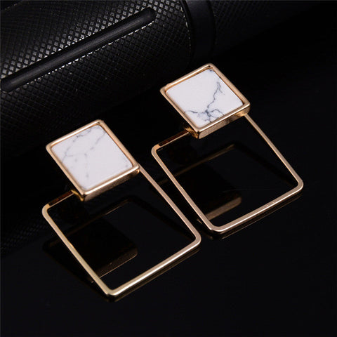 New Arrival 2017 Trendy Gold Fashion Square Triangle Round Geometric Marbled White Faux Stone