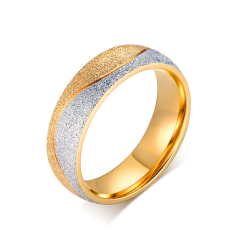 Adorable Couple Engagement Ring For Women Men Sand Blasted Gold-Color Stainless Steel