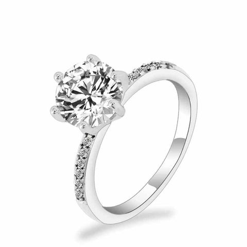 Classic Engagement Ring 6 Claws Design AAA White Cubic Zircon Female Women
