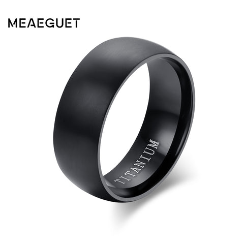 Fashion Men's Black Titanium Ring Matte Finished Engagement