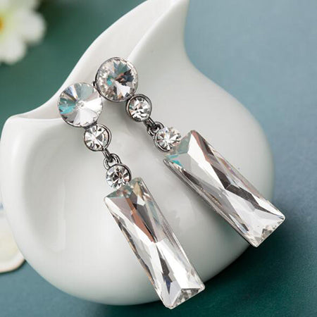 Fashionable Big Drop Earrings With Stones Blue Long Square Crystal Dangle Several Choices