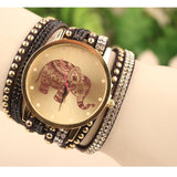 Velvet Elephant Pattern Women Girls Watches