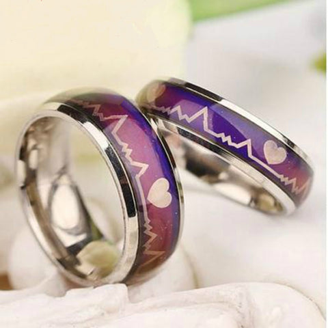 Mood Heart Shape Ring Band Color Temperature Changing Magic 5 Colors
