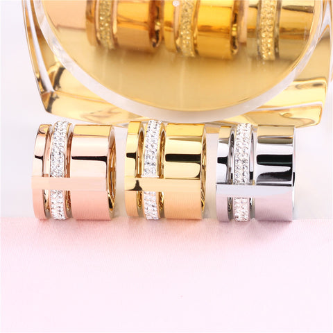 Beautiful Stainless Steel Women Rose Gold Finger Three Layers
