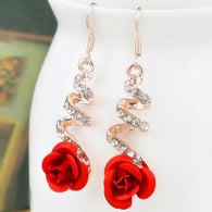 Vintage Red Rose Drop Earring Plant With Crystal Rhinestone