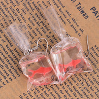 Transparent Bag Goldfish Drop Dangle Earring